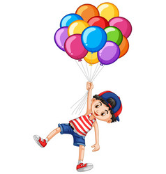 happy boy and many balloons vector image