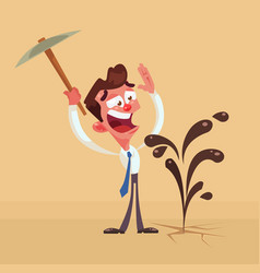 happy businessman character found oil vector image