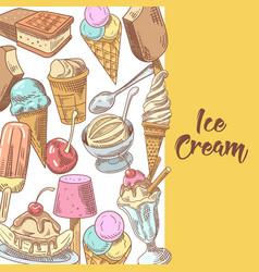 ice cream and desserts hand drawn menu vector image vector image