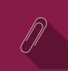paper clip icon isolated with long shadow vector image vector image