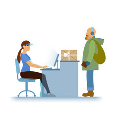 reception girl and customer supermarket or vector image