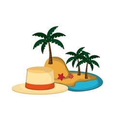 tropical island and hat icon vector image vector image
