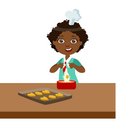 boy making dough for cookies cute kid in chief vector image