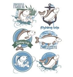 Carp Fishing Icons vector image vector image