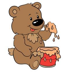 cute bear with honey - eps 10 vector image