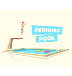 Man jumping Swimming pool with a diving board vector image vector image