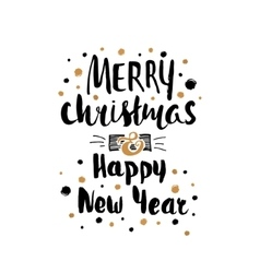 Merry Christmas Happy New Year card template vector image