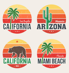 set of california arizona miami t-shirt prints vector image vector image