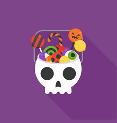 Skull bucket filled with sweets and candy vector