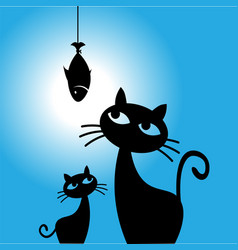 cat dreams of fish cat wants to eat vector image vector image