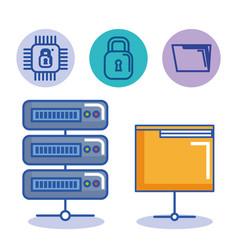 data center server folder file protection digital vector image