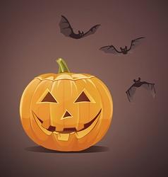 Jack-o-lantern with bats vector image vector image