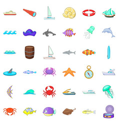 Saltwater icons set cartoon style vector