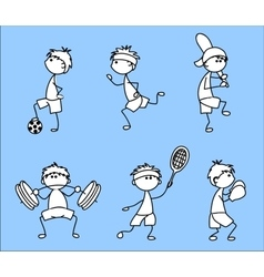 Stick Figure Sporting Icon Set vector image