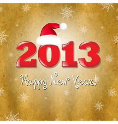 Vintage New Years Card With Red Santa Hat vector image vector image