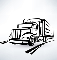 american lorry silhouette truck outlined sketch vector image vector image