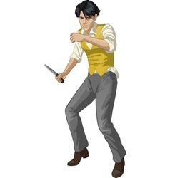 Asian brawling man cartoon character vector image vector image
