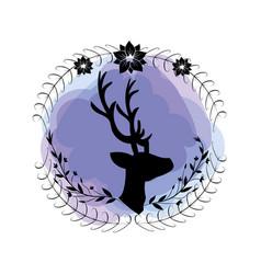 branches around of deer wild animal vector image