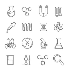 Chemistry thin line icons set vector image