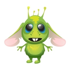 Cute long-eared green alien character vector image