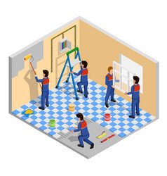 renovation isometric composition vector image