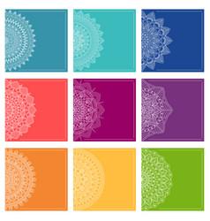 set of greeting card templates with mandalas vector image