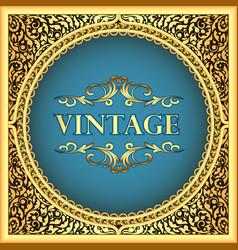 vintage background frame with a gold floral vector image vector image