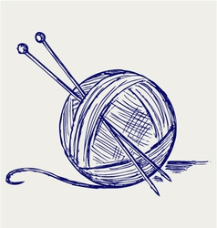 Yarn balls with needles vector image vector image