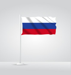 3d realistic russia flag waving wind vector