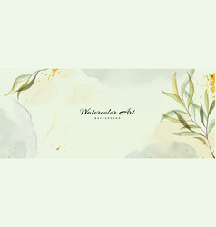 Abstract background watercolor with green leaves vector