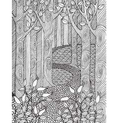 Adult coloring book page design with forest trees vector
