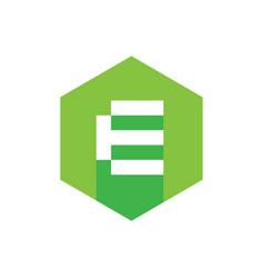 alphabet e logo icon with long shadow flat design vector image