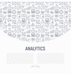 analytics concept with thin line icons vector image