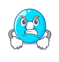 Angry cartoon the number zero color blue vector