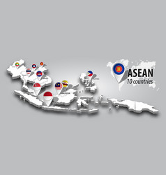 Asean and membership flag on 3d map southeast vector