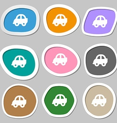 Auto icon symbols Multicolored paper stickers vector image