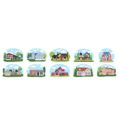 big houses set buildings set flat design vector image