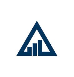 blue triangle stock exchange logo template design vector image