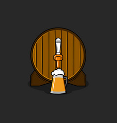 Brewery logo mockup old wooden barrel with bronze vector