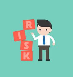 Businessman push the block risk management concept vector