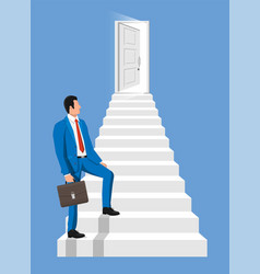Businessmen walk up stairs to door vector