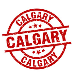 Calgary red round grunge stamp vector