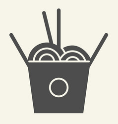 Chinese noodles solid icon noodle in box vector