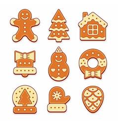 Christmas gingerbread cookies vector