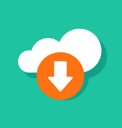 cloud download icon flat cartoon cloud vector image
