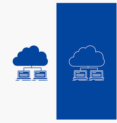 Cloud network server internet data line and glyph vector