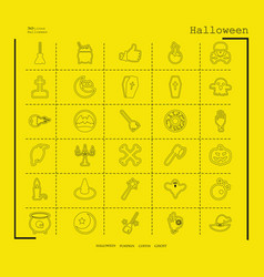 Collection of 30 halloween icons in thin line vector