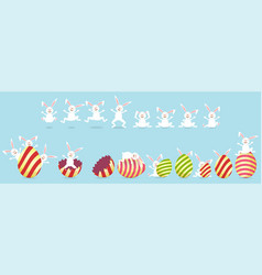 collection of easter bunny character and egg vector image