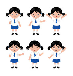 collection of little girls in school uniform vector image