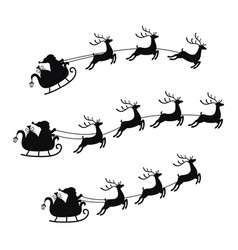 collection sleigh with bag gifts and reindeers vector image